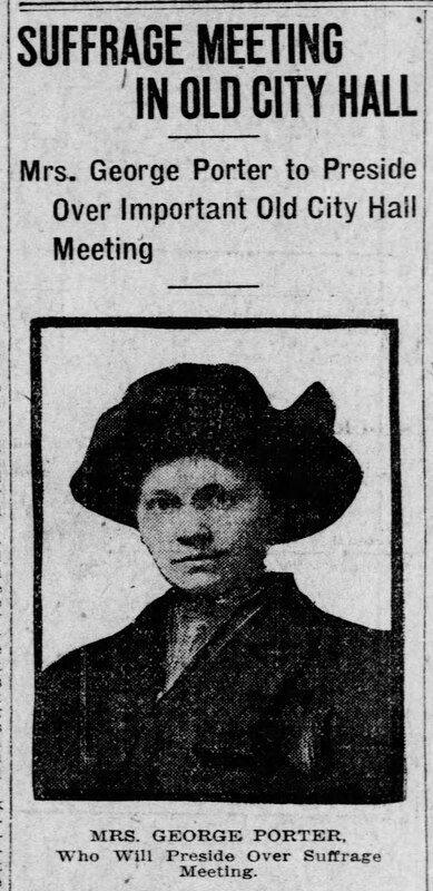 Newspaper clipping of article about Jane DeVore Porter and suffrage activities in Pittsburgh